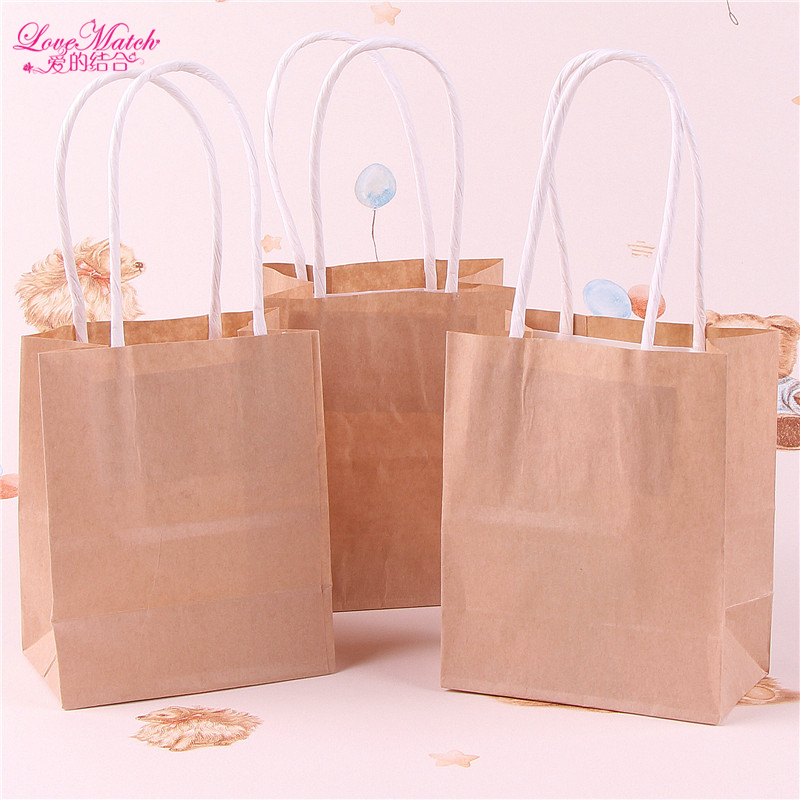 20pcs Kraft Paper Gift Bags Wedding Candy Packaging Wedding Gift for Guests Wrapping Bag Food Bread Shopping Party Favor Bag