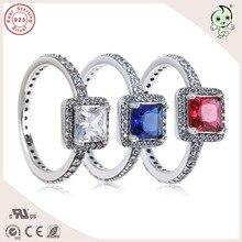 Одежда высшего качества Мода Классический CZ укладки красочные квадратный камень 925 натуральная Серебряный партия кольцо