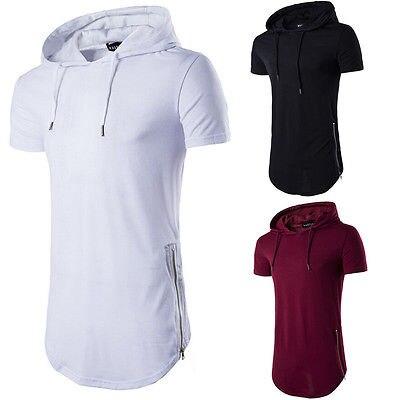 0fa17b189e7 Camiseta de manga corta Casual larga para hombre de verano a la moda  camiseta con capucha cuello Hip Hop camiseta en Camisetas de Ropa de hombre  en ...