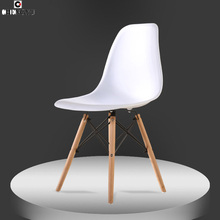 The modern popular plastic chair furniture Leisure dining chair Composition of synthetic resin and solid wood legs