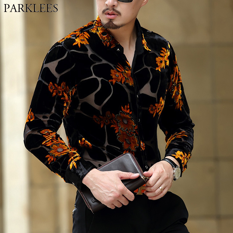 Gold Floral Embroidery Men Lace Shirt 2018 Luxury Brand Mens Dress Shirt Transparent Sexy Male High Quality Shirt Camisa Social 1