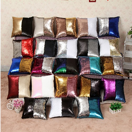 Drop Shipping Reversible Sequin Mermaid Sequin Pillow Continental Cushion  Home Decor Sofa Pillows Decorative Cushions