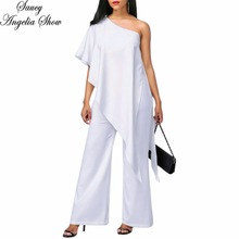 SAUCY ANGELIA Rompers Womens Jumpsuit Sexy White Irregular Zipper One Shoulder Summer Bodysuits Ruffles Party Overalls Playsuits