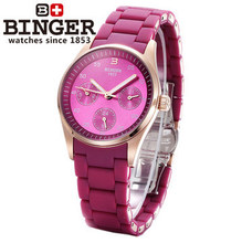 New Hot Binger LOGO Famous Brand Fine Quartz Calendar WristWatch For Women Ladies Watches Rose Gold