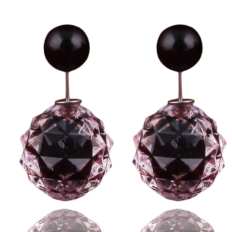 14 Colors New Arrival Luxurious Double Ball Earrings Transparent Geometric Double Sides Pearl Stud Earrings For