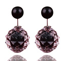 14 Colors New Arrival Luxurious Double Ball Earrings Transparent Geometric Double Sides Pearl Stud Earrings For Women Jewelry