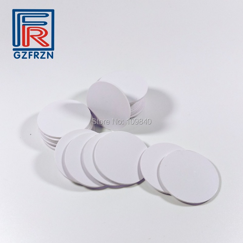 100pcs/lot Dia 25mm RFID PVC Token Plastic Round Rfid Tags 125KHz Read Only 64 Bit With TK4100 Chip