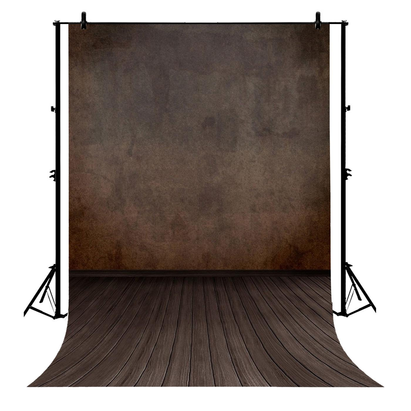 5x7ft Blurry Old Wall Dim Hardwood Floors Scene Polyester Photo Background Portrait Backdrop image