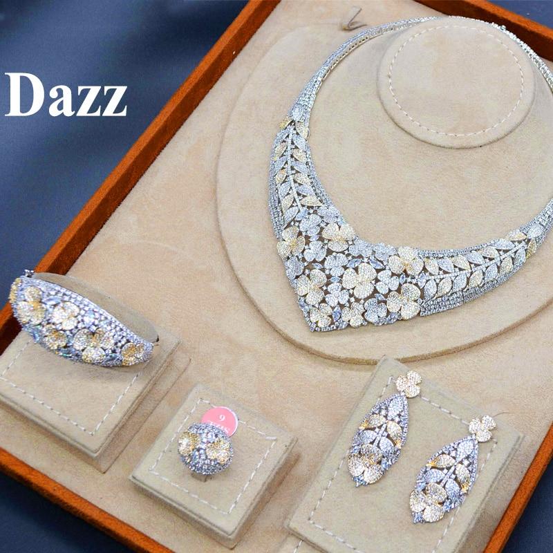 Dazz Gold Color Nigeria Jewelry Set luxury Necklace Earrings Bangle Ring CZ Zircon Bride Women Wedding Dazz Gold Color Nigeria Jewelry Set luxury Necklace Earrings Bangle Ring CZ Zircon Bride Women Wedding Engagement Best Gift 2019