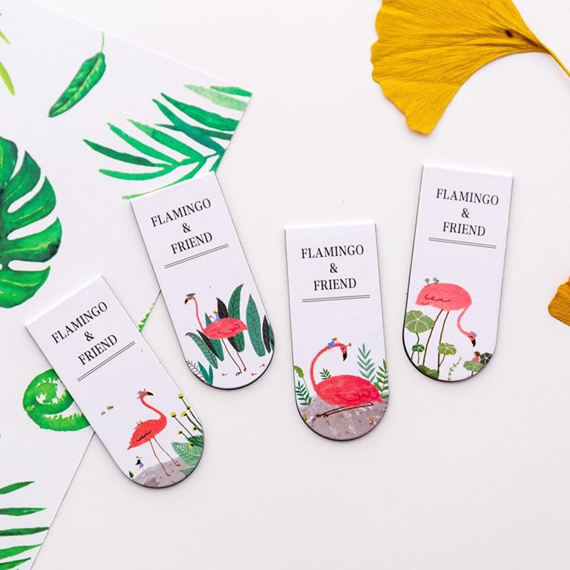 1pc Cute Flamingo Bookmarks Novelty Magnetic Book Marks Kawaii