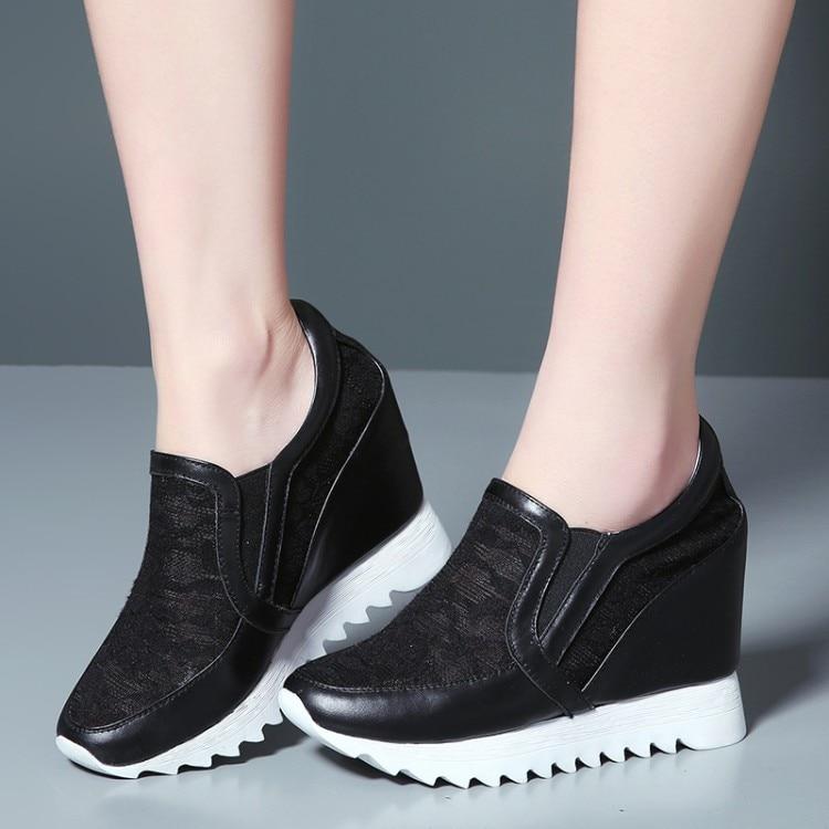2018 Zapatos Plataforma Interior Mujer blanco rosado {zorssar} Aumento De en Alto Nuevo Cuero Genuino Casuales Slip El Tacón Bombas Negro FOadqwaY