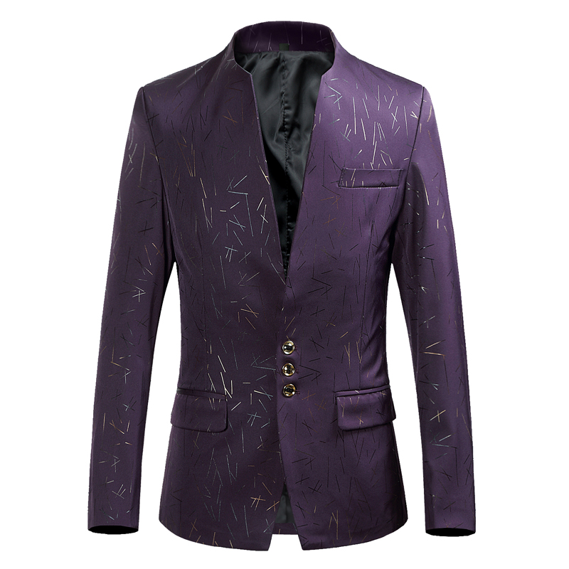British Wind 2019 Spring New Men's Trend Printing Small Suit, Slim Collar Collar Large Size Three Buckle Youth Handsome Jacket