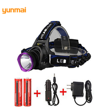 3000LM LED Headlamp CREE XML T6 3 Modes Rechargeable Headlight Head Lamp Spotlight For Fishing+Charger(US EU UK AU)+2 PCS 18650 2000lm led headlamp cree xml t6 3 modes rechargeable headlight head lamp spotlight for hunting charger us eu 2x18650battery