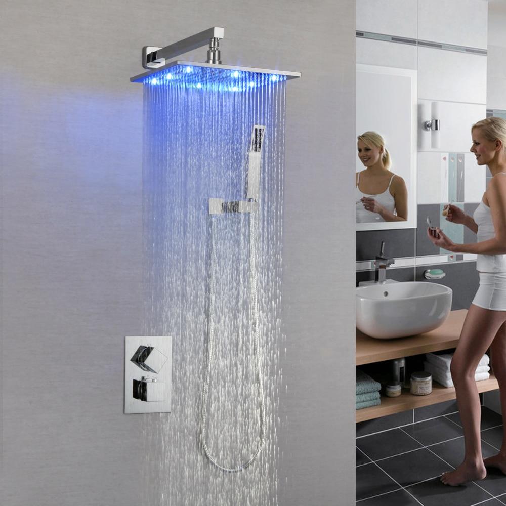 SKOWLL thermostatique robinet à LED douche pluie douche ensemble mélangeur bain vanne SK-7632