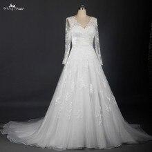yiaibridal Ivory Vintage Long Sleeve Neckline Wedding Dress