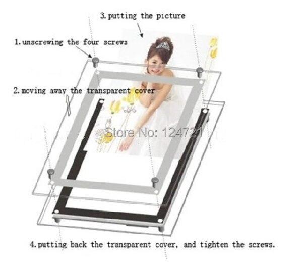 montado na parede de publicidade lightbox aluminio led frame instantaneo 05