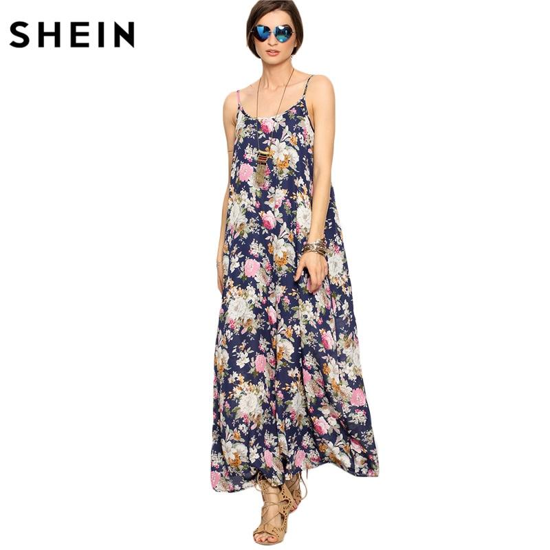 7c64bd1eb0 SHEIN Long Summer Dresses for Women Beach Wear Boho Ladies Sleeveless  Multicolor Floral Spaghetti Strap Shift