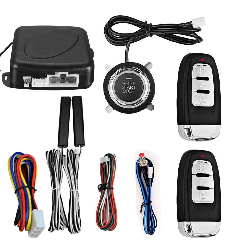 Système d'entrée sans clé passif PKE Kit de démarrage/arrêt de véhicules à bouton-poussoir de démarreur de moteur avec 2 clés intelligentes