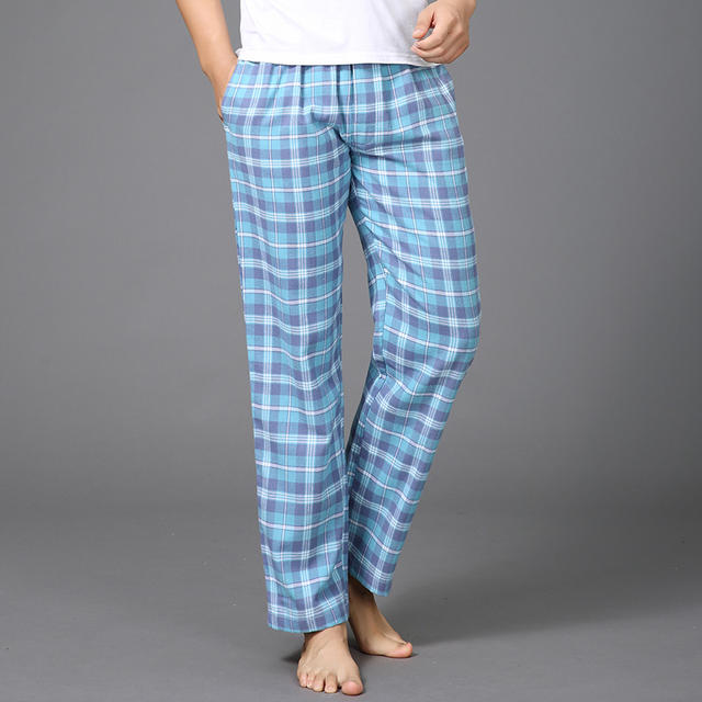 Thicken Plus Size 100% cotton mens sleep bottoms sexy sheer pants keep warm simple autumn winter pyjamas trousers for male