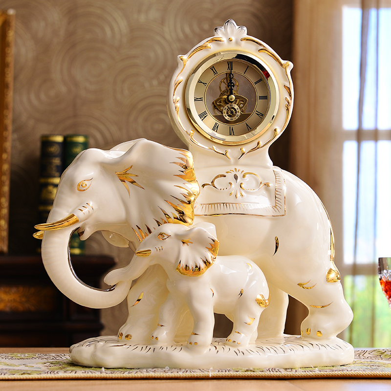 Continental retro clock clock ceramic large living room - Watch the elephant in the living room ...