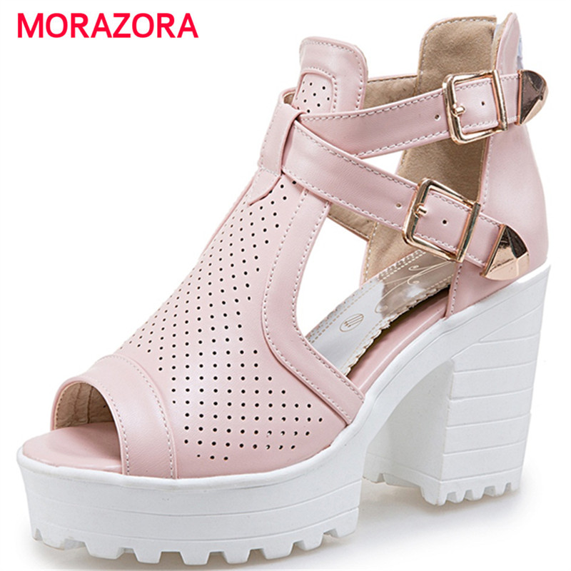 MORAZORA 2017 Platform shoes women high heel zipper big size 34-43 fashion summer shoes woman sandals party hot sale size 30 43 woman ankle strap high heel sandals new arrival hot sale fashion office summer women casual women shoes p19266
