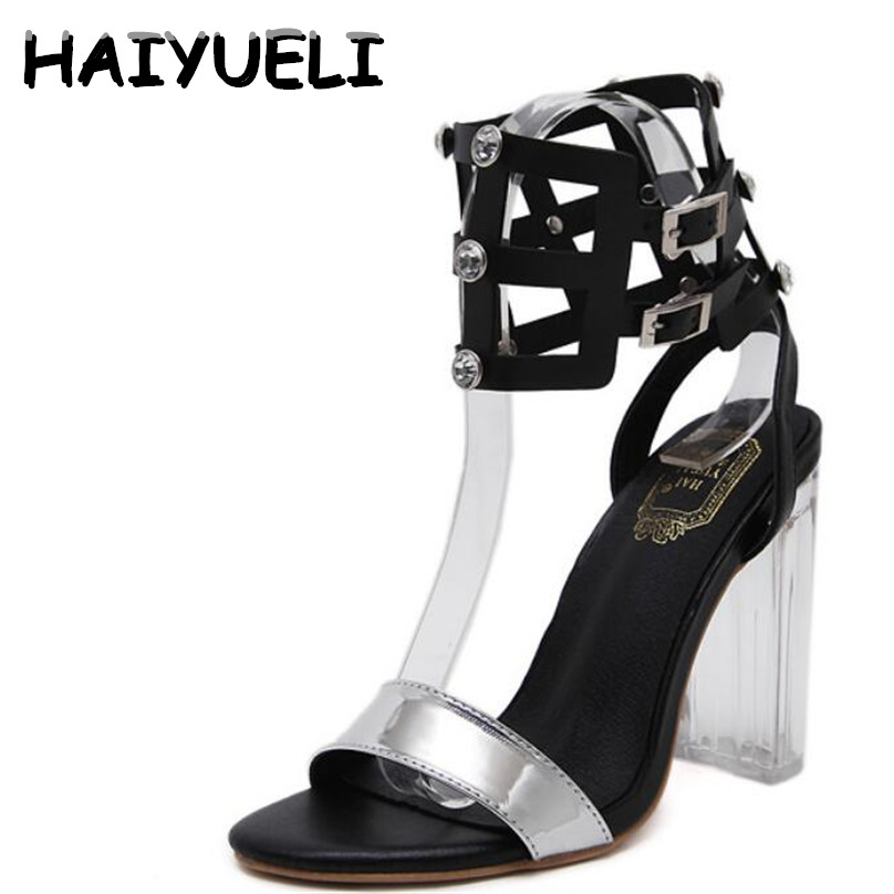 HAIYUELI Women Sandals Crystal Heel Rhinestone Rome Ankle Buckle High Heels Woman Stiletto Sandals Party Wedding Shoes Plus Size 2017 new arrival abnormal jeweled heels rhinestone crystal embellished high heel sandals ankle strap lock summer party shoes