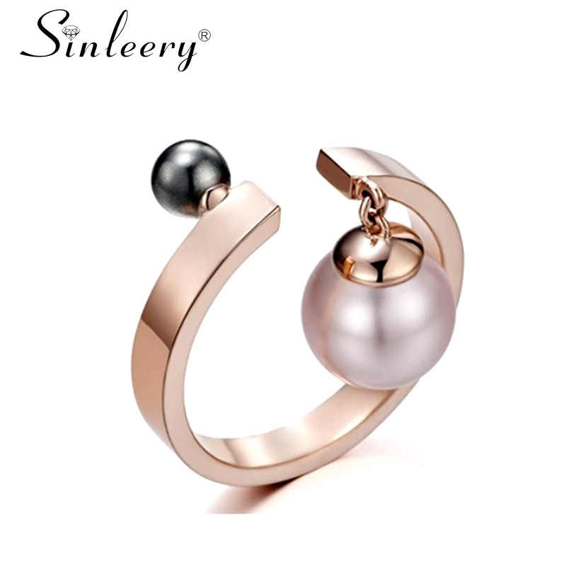 SINLEERY Trendy Female Adjsutable Open Rings With Simulated Pearl Pendant Party Jewelry Bagues Anillos JZ523 SSC