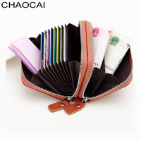 Double Zipper Women Credit Card Holder Genuine Leather Men Wallet Small Business Card Bag Cow Leather