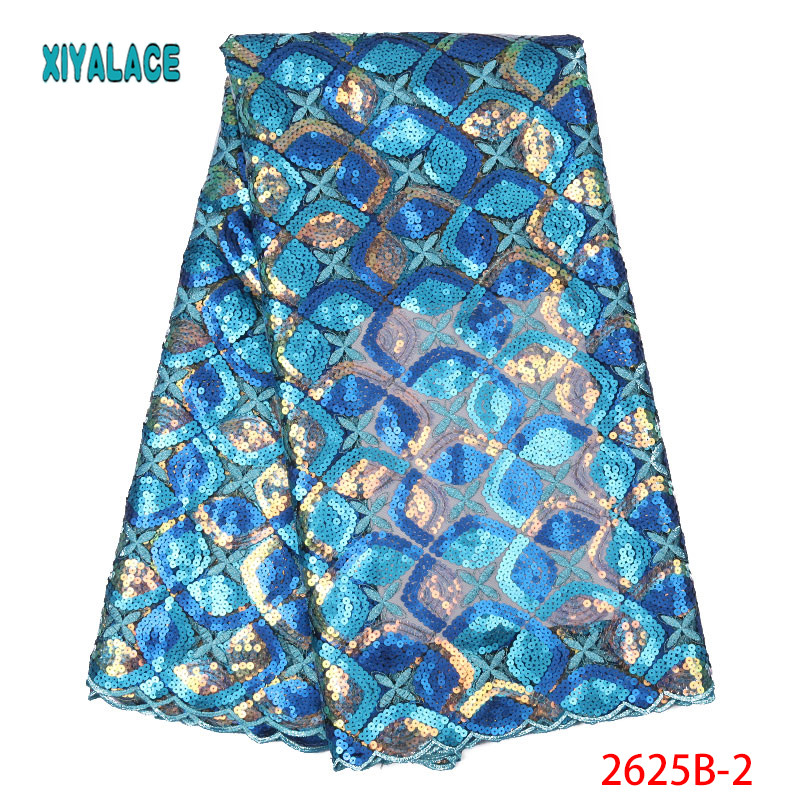 African Lace Fabric 2019 Latest Nigerian High Quality For Wedding Dress French Tulle Organza Sequins Lace Fabric YA2625B-2