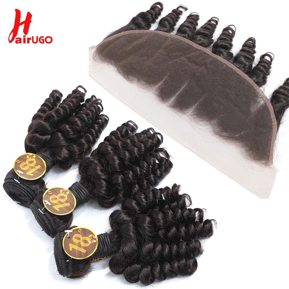 HairUGo Funmi Curly 13*4 Lace Front Human Hair Bundles With Closure Brazilian Remy Lace Frontal Wigs With Baby Hair