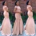 Don's Bridal South Africa Mermaid Peach Bridesmaid Dresses Satin Summer Beach Maid Of Honor Dress vestidos de noiva 2016