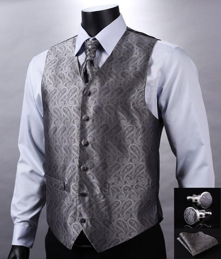 VE01 Gray Silver Paisley Top Design Wedding Men 100%Silk Waistcoat Vest Pocket Square Cufflinks Cravat Set for Suit Tuxedo
