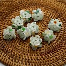 Natural Jadeite 13MM Jade Beads Handmade Flowers Charm For Jewelry Making XP27