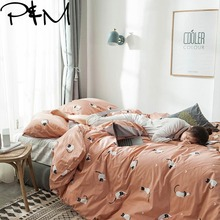 PAPA&MIMA Black-faced white cat print Cartoon style bedding sets cotton Twin Queen Size duvet cover set bedsheet pillowcases