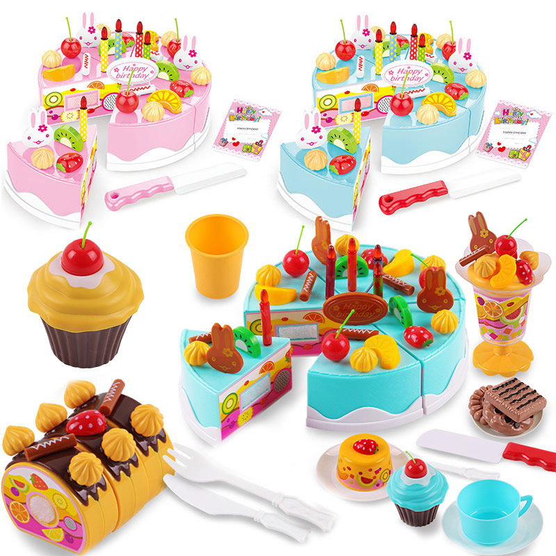 38-75Pcs Kids Cake Pretend Play Kitchen Toys Fruit Cutting Birthday Cake Safety Food Sets Play House Toy For Children Girls