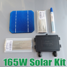 165W DIY Solar Panel Kit 6×10 125 Monocrystalline 150W 165Watt Mono solar cell tab wire Bus wire Flux pen Junction Box WY