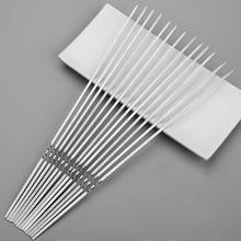 30pcs Stainless Steel BBQ Sticks Reusable Flat type Skewer Fork Skewers Grilling Barbecue Roast Needles