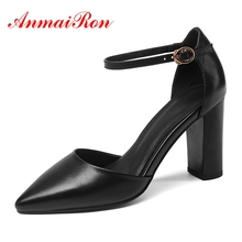 ANMAIRON 2018 New arrival Fashion Black Green Full grain leather Pointed toe women Sandals High heels Party shoes woman CR188