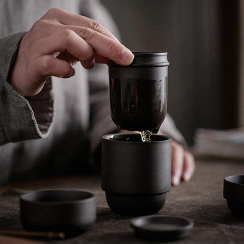 Travel Kung Fu Tea Set Purple Sand Portable Teapot Porcelain Teaset Gaiwan Tea Cups Of Tea Ceremony Tea Pot With Travel Bag