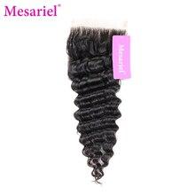 Mesariel Brazilian 4×4 Lace Closure Remy Hair Natural Color 100% Human Hair Deep Wave Free Part Closure