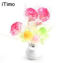 Luminaria LED Night Light Lamp Novelty Light Sensor Colorful Nightlights US Plug Mushroom Flower Plant Lilac