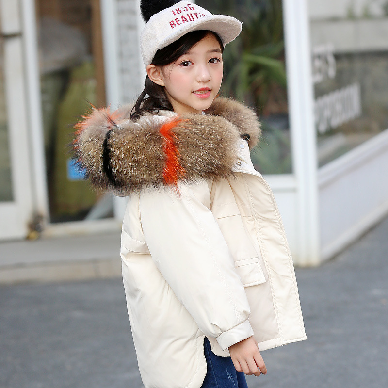 2-14 y Kids Snowsuit Girls Winter Coat Large Fur Collar Thick Warm Children Girl Down Jacket Parkas Kid Outwear Coat Snow Wear winter long new knee length women jacket longthen slim was thin coat big fur collar plus size thick parkas warm outwear mz847