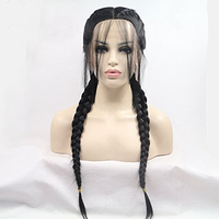 Fantasy Beauty Long Double Braids Natural Black Synthetic Braided Lace Front Wig with Baby Hair Wigs Heat Resistant Fiber Wigs