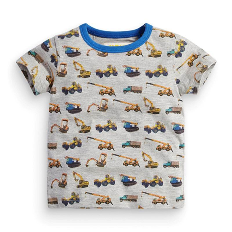 2016 Summer New Boy T-shirts excavating machinery Cotton Fashion Short Sleeve T-shirts Children Clothing 1-6T 6491