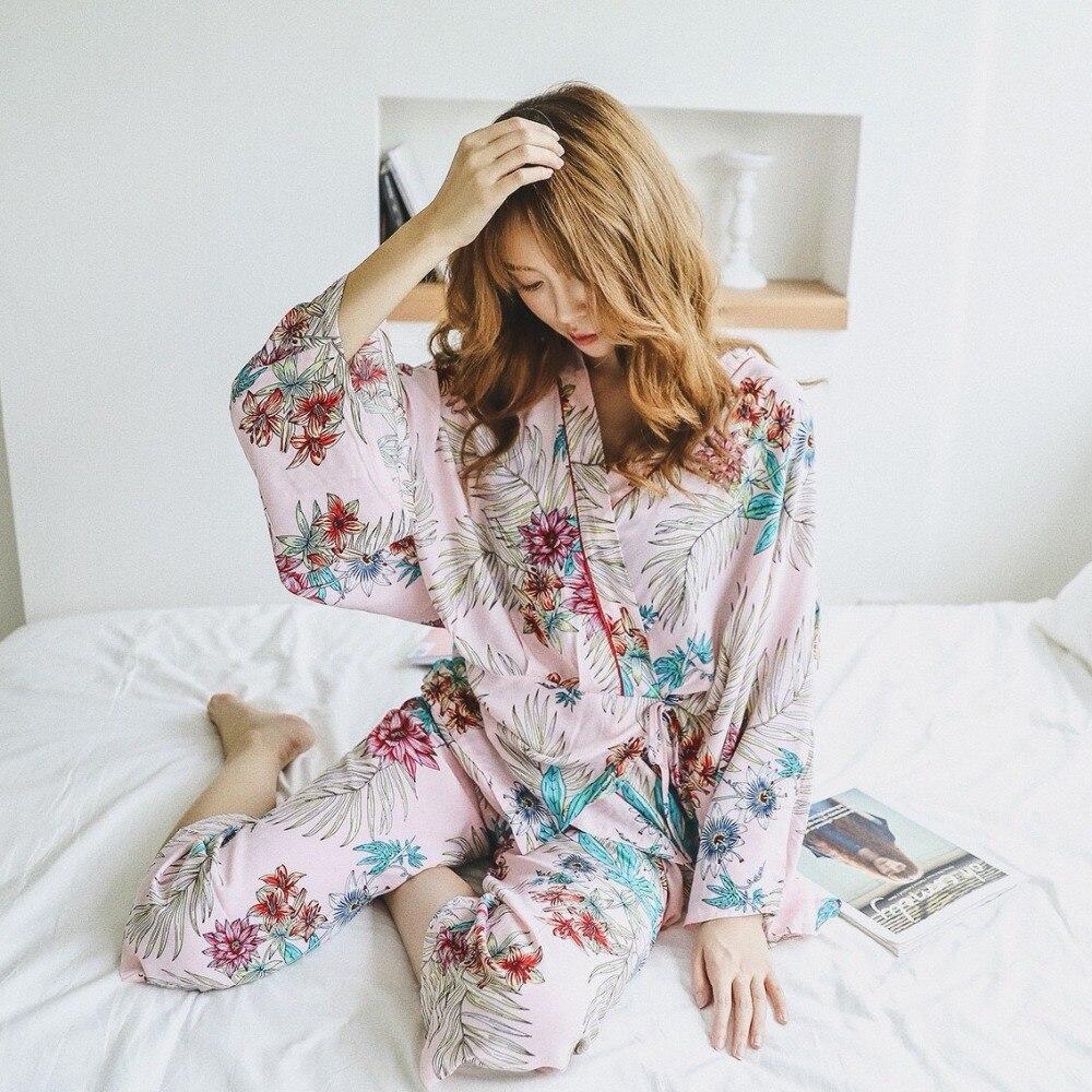 Image 3 - Autumn 2pcs Ladies Pajamas Night Clothes Pijamas Women Pajamas Plus Size Nightwear For Women floral leaf Women Pajamas Set-in Pajama Sets from Underwear & Sleepwears