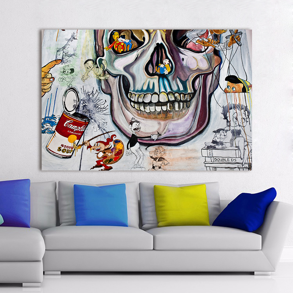 Room wall graffiti - Aliexpress Com Buy Hdartisan Canvas Art Graffiti Wall Pictures For Living Room The Skull Oil Painting Home Decor Printed Frameless From Reliable Picture