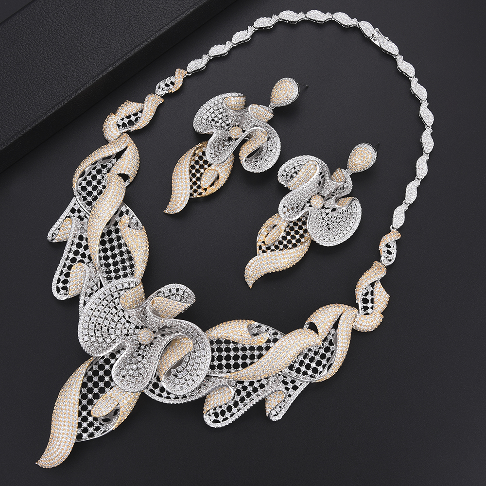 Zircon cubique de luxe ensembles de bijoux de mariage nigérian dubai collier boucles d'oreilles Bracelet anneau bijoux de mariage pour les femmes pendientes - 2