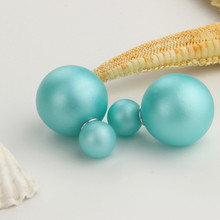 Free delivery 2017 double circuit face imitation pearl stud  lady earring face dual two-lane wear big earrings colorful