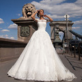 Vestidos De Novia Ball Gown Short Sleeves Wedding Dress Casamento 2016 Lace Vintage Plus Size Princess Bridal Dresses New