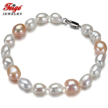 Feige Special offer Baroque style White/Pink Freshwater Pearl Strand Bracelets & Bangles for women Fine Jewelry Pulseras